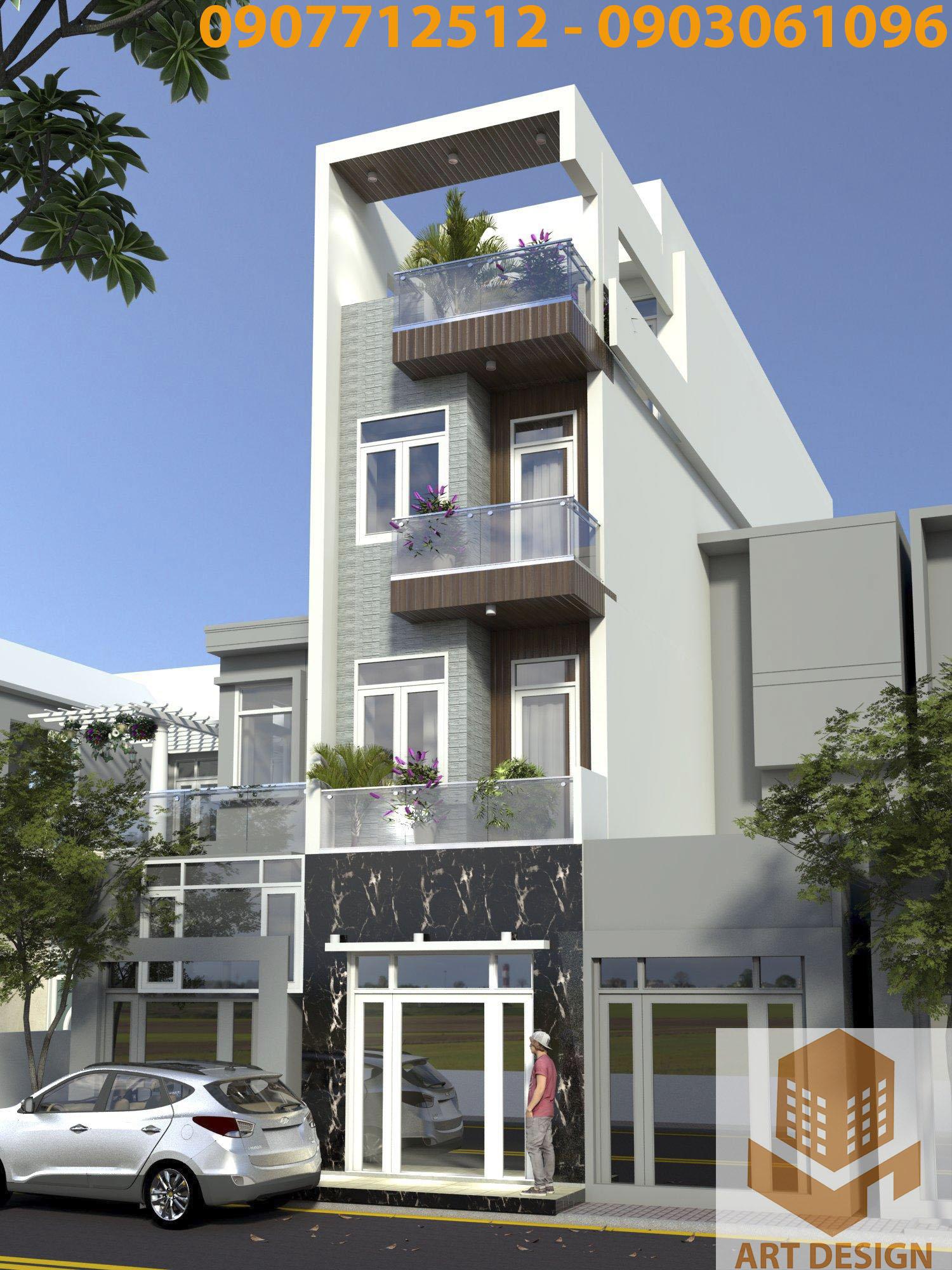 nhà 3 tầng 1 tum hiện đại
